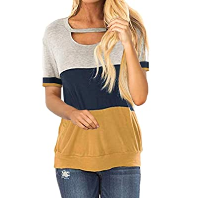 Women's Color Block Chest Cutout Tunics Short Sleeve Shirt Scoop Neck Blouse Casual Loose Tops Cute Sweatshirts: Clothing