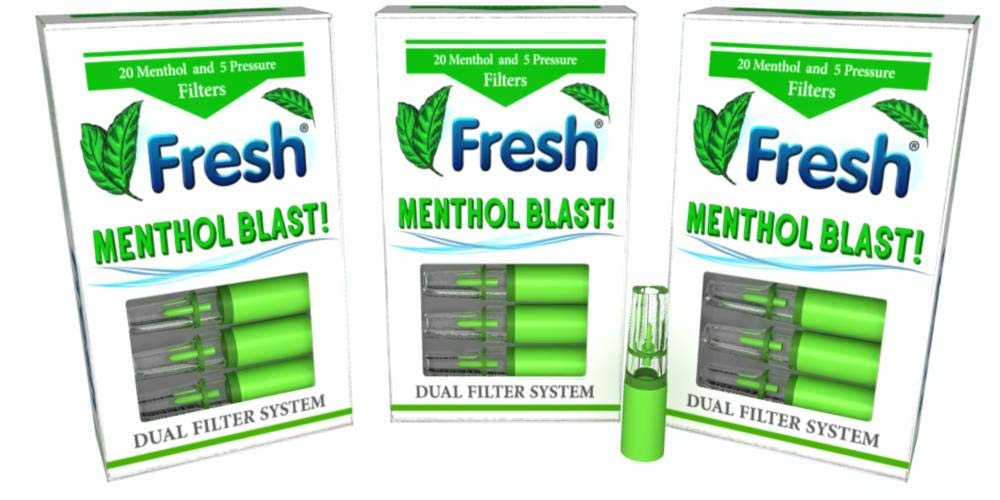 FRESH MENTHOL Blast Cigarette Filters 3 Packs = 60 Menthol Capsule Filters Good for 120 Cigarettes