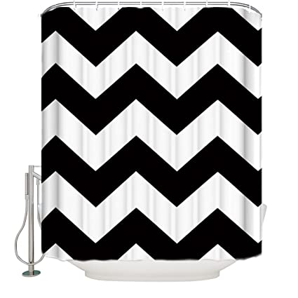 Image Unavailable Not Available For Color Cloud Dream Black And White Chevron Shower CurtainZig