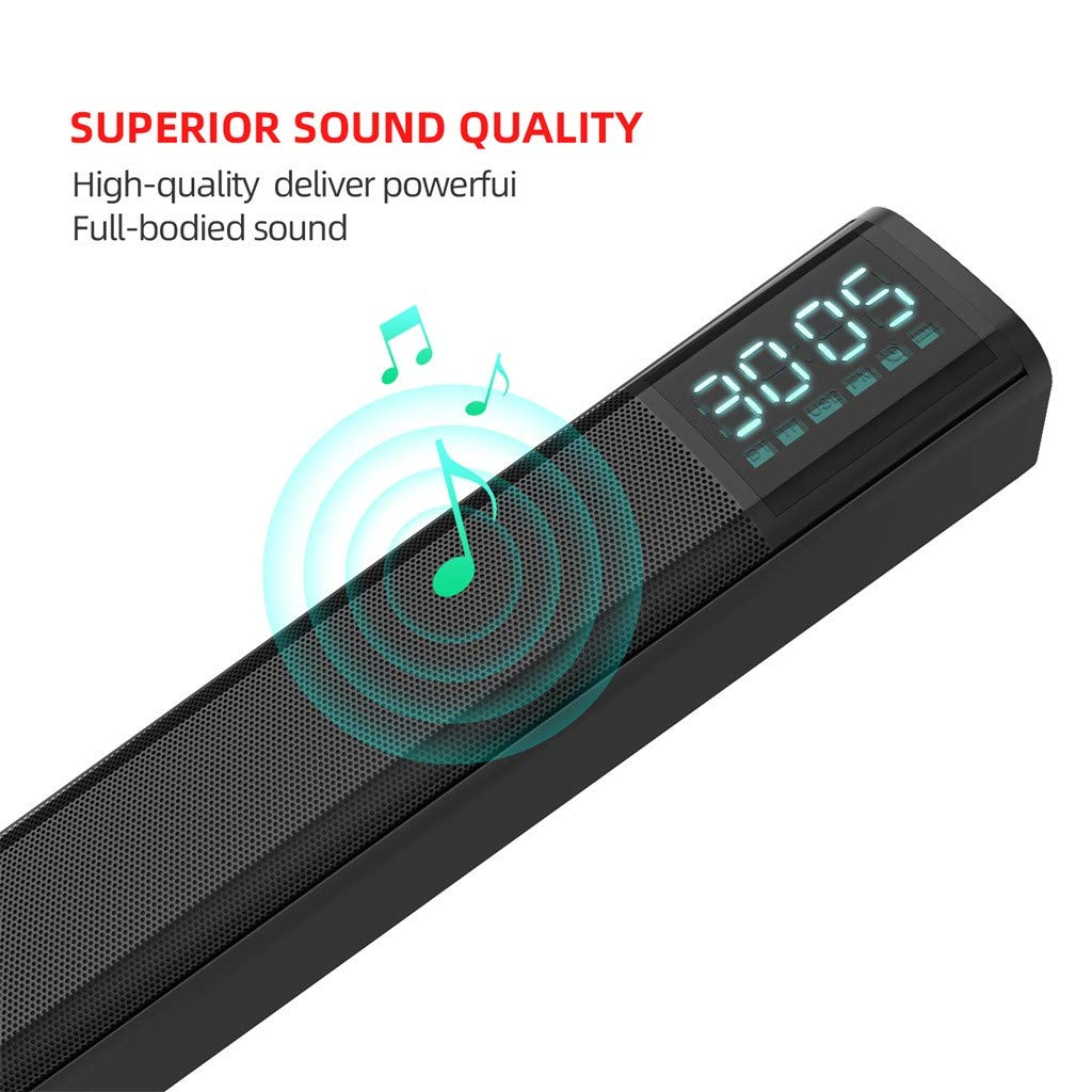 Wall Mountable Black Bass Adjustable Surround Sound for Home Theater 2 x 5W Soundbar TV Sound Bar with Subwoofer Wired /& Wireless Bluetooth 5.0 Speaker for TV TF//USB Barcley Sound Bar