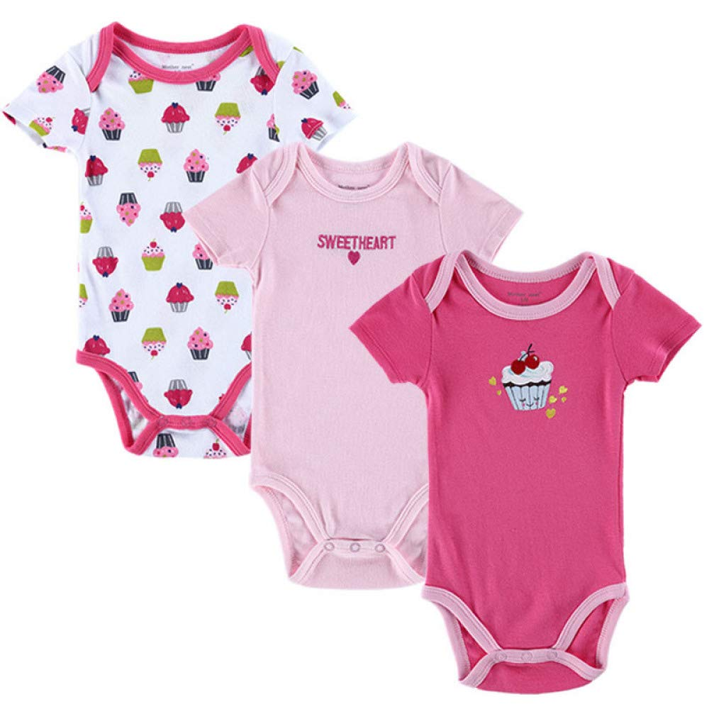 BIG LION Baby Clothes Romper 3 PCS Short Sleeve Newborn Girl Boy Body Overall Rompers