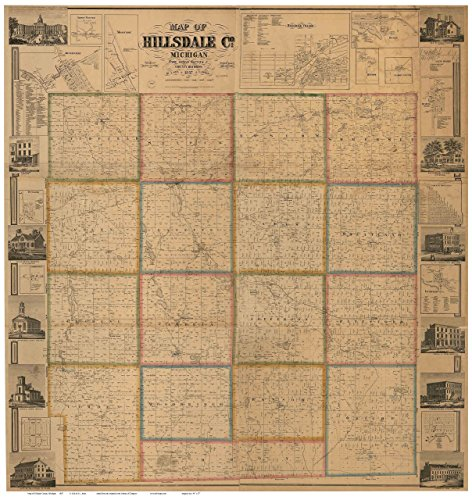 Hillsdale County Michigan 1857 - Wall Map with Homeowner Names Farm Lines Genealogy - Old Map - Hillsdale Map