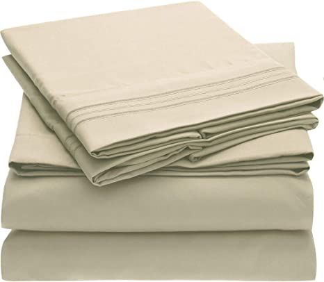 Amazon Com Mellanni Bed Sheet Set Brushed Microfiber 1800 Bedding Wrinkle Fade Stain Resistant 4 Piece Queen Beige Home Kitchen