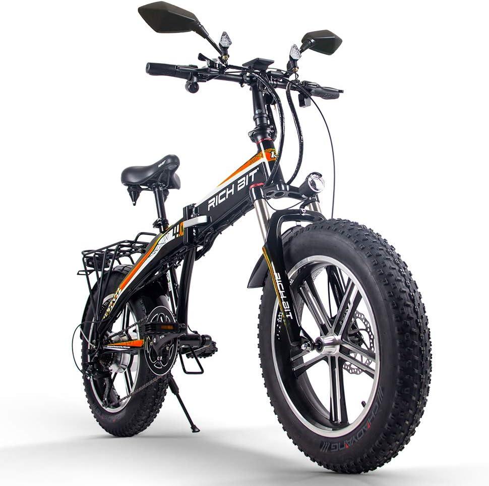 RICH BIT TOP016 500w 電動ハイブリッドバイク 20インチファットバイク スノーバイク 折りたたみ 4色(グリーン) オレンジ