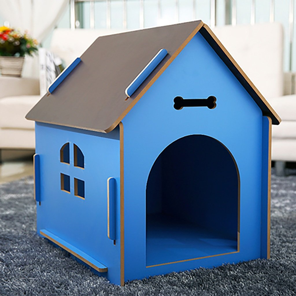 bluee MCats and Dogs House Wooden Indoor Outdoor  pet  nest (color   bluee, Size   M)