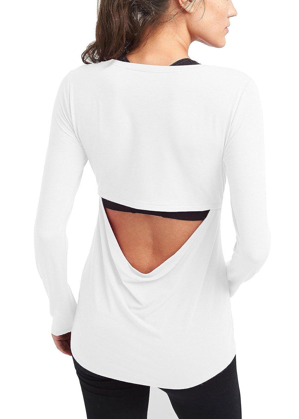 04b6cbbb87470a Bestisun Women s Long Sleeve Yoga Tank Top Open Back Workout Sport ...