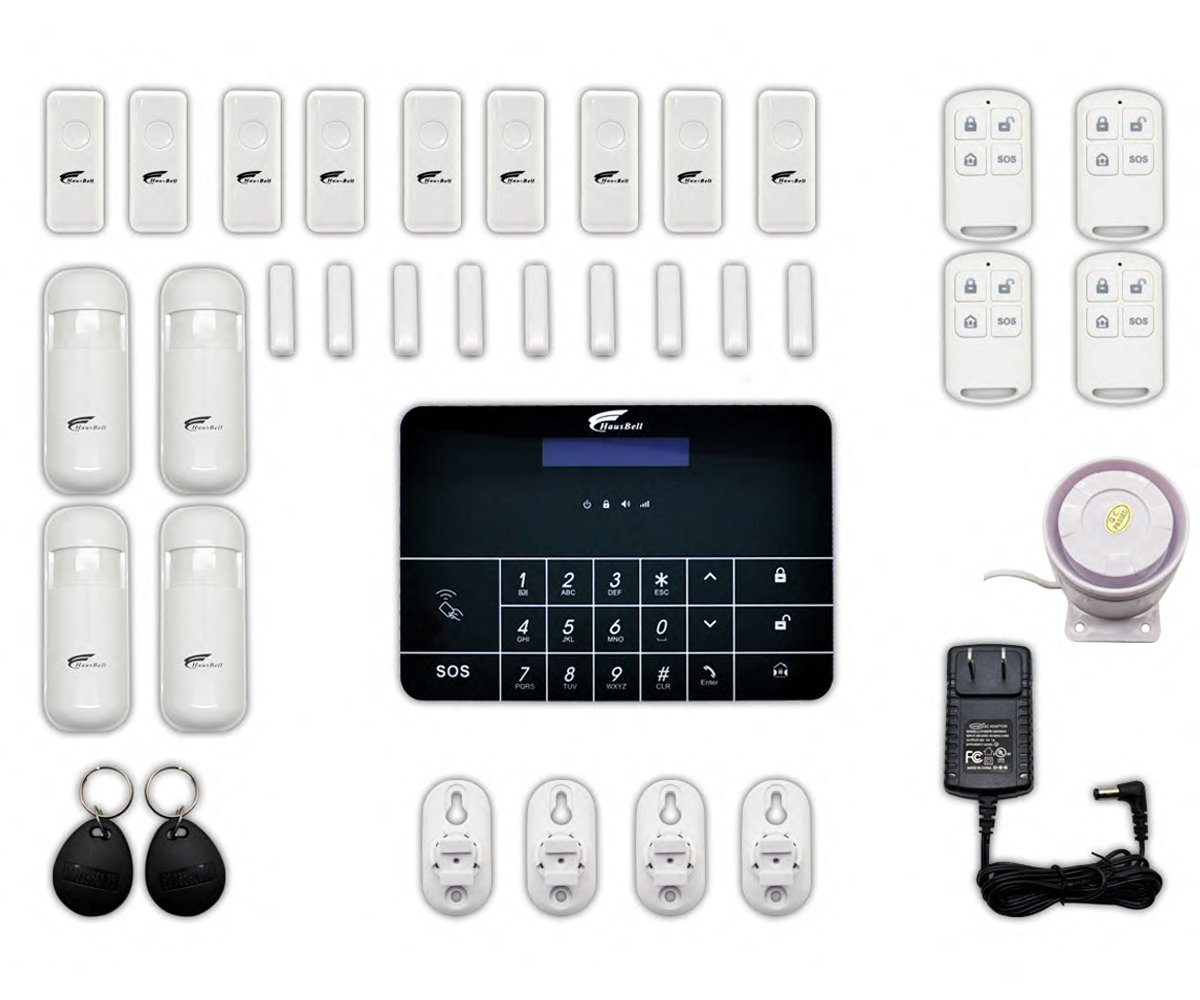 Alarm System, HAUSBELL Professional Wireless Smart GSM Home Security Alarm System Kit Apartment Alarm System with Auto Dial and App Operation