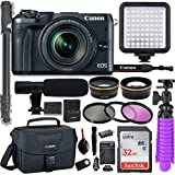 Canon EOS M6 Mirrorless Digital Camera with 18-150mm Lens (Black) + Professional Video Kit with 32GB Memory, HD Filters, Monopod, Spider Tripod, Canon Gadget Bag & More.