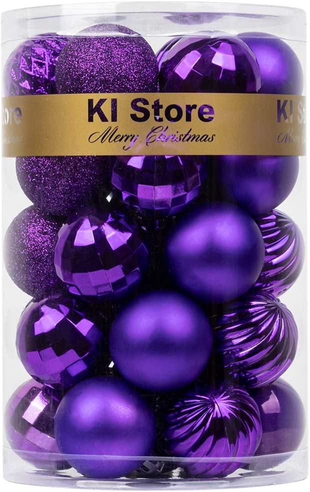 KI Store Purple Christmas Ball Ornaments 34pcs Small Shatterproof Christmas Tree Balls Decoration for Xmas Halloween Decor DIY Handcraft Ornaments Hooks Included (Purple, 1.57-Inch)