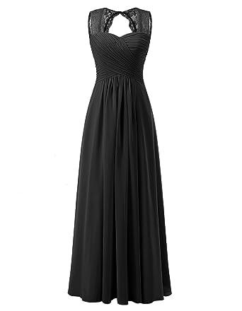 33e5d28a86d ALAGIRLS Women s Lace Straps Chiffon Bridesmaid Dresses Long Wedding Party  Gowns TC10095 Black US2