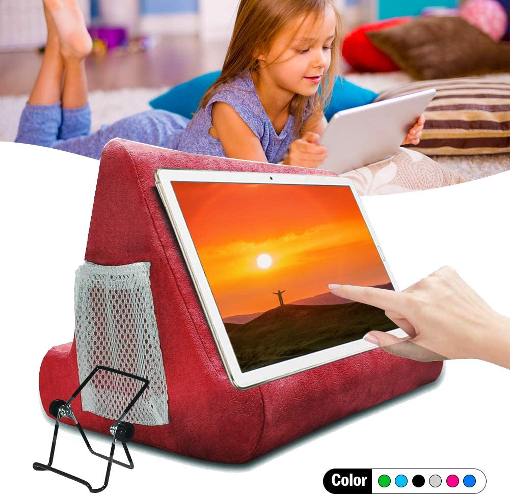 Tablet Pillow Holder Stand,Multi-Angle Soft Pillow for iPads, Bed Stand Foam Book Rest Reading Stand Pillow Pad 360 for Lap Bed Kids (Wine): Home Audio & Theater