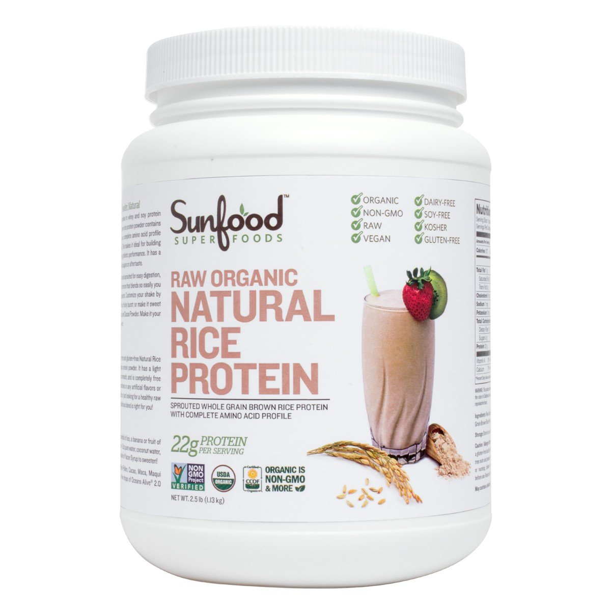 Sunfood Organic Rice Protein Powder- Natural, Unflavored. Bulk Value. 22 Grams of Protein. 2.5 lb Tub