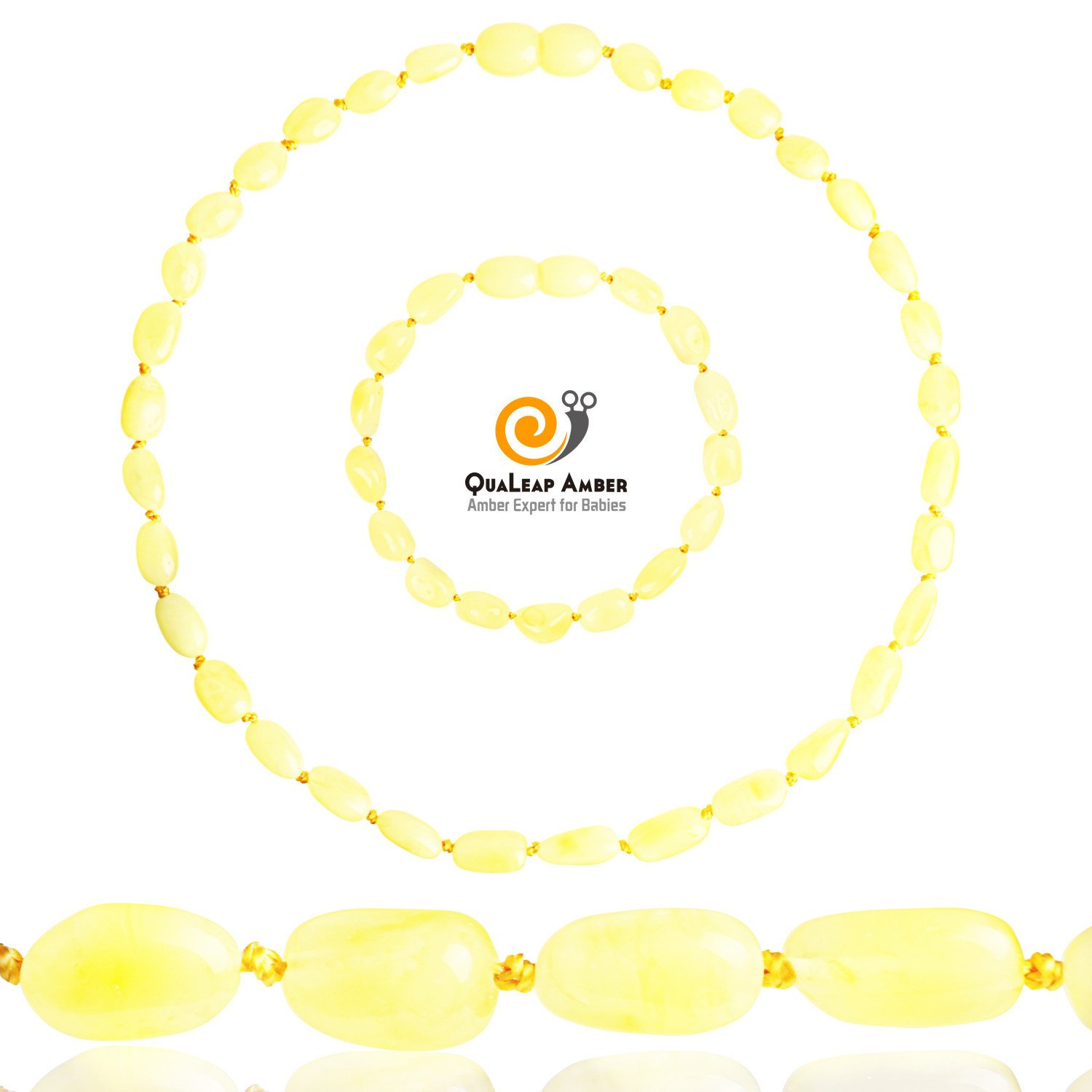 Baltic Amber Teething Necklace + Amber Teething Bracelet Set for Baby, 100% Authentic Amber Necklace and Amber Teething Anklet for Infant & Toddler (Unisex - Butter - 12.5 Inches / 5.5 Inches)