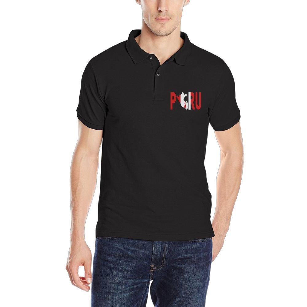 Peru Peruvian Flag Mens Short Sleeve Polo Shirt Regular Blouse Sport Tee