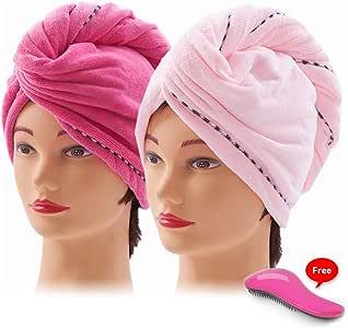 Nelipo 2 pcs super absorbente toallas de pelo secado tapa turbante ...