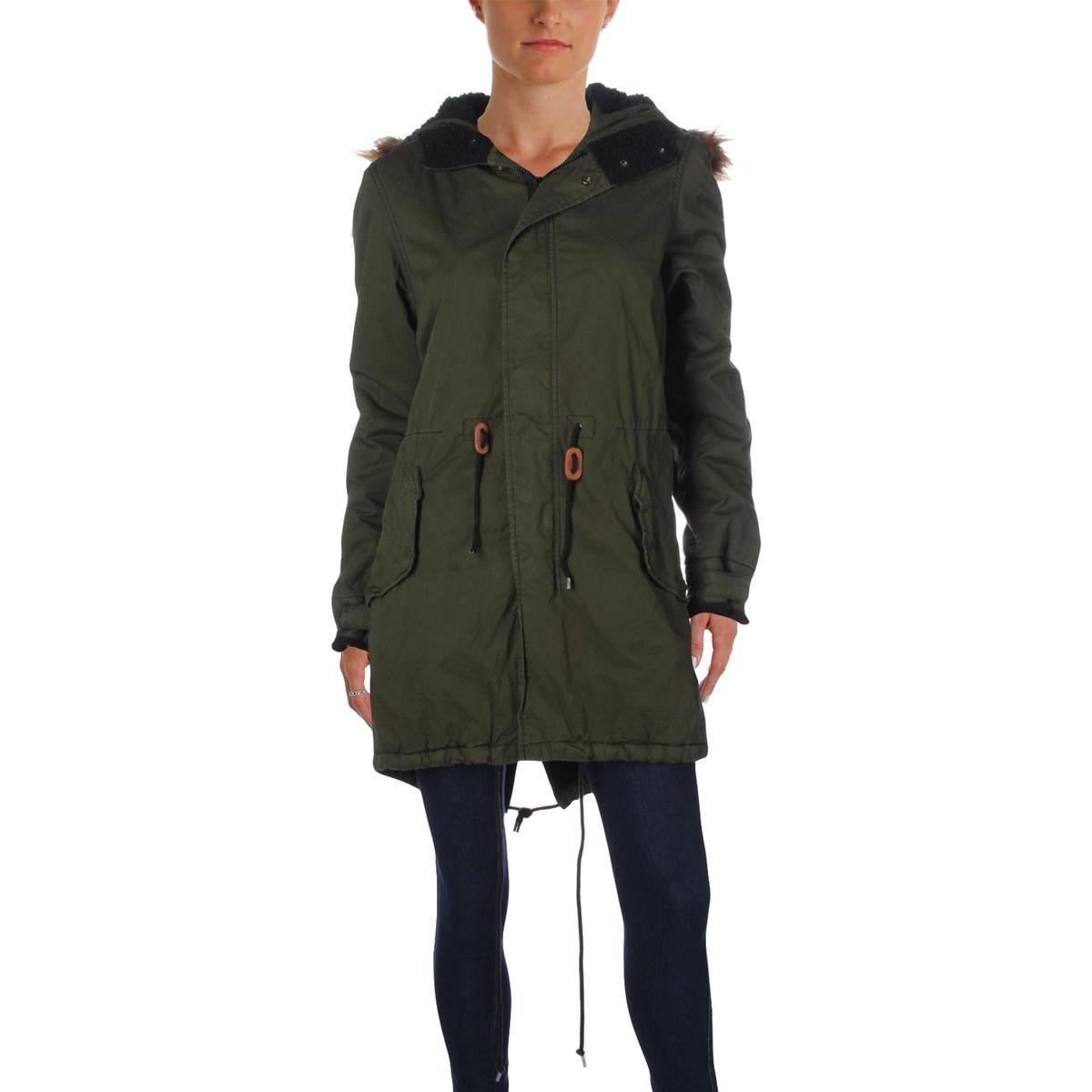 Free City Womens Cotton Mixed Media Parka Green S