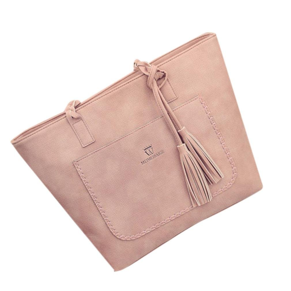 Womens Handbag Shoulder Bag Large Tote Ladies Purse Casual Zipper Bag Shopping Bag Messenger Bag Faionny (Pink)