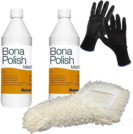 Trevendo Bona Polish - Juego de 2 Botes de 1 litro de Pintura Mate (Incluye mopa de algodón y Guantes de Trabajo): Amazon.es: Hogar