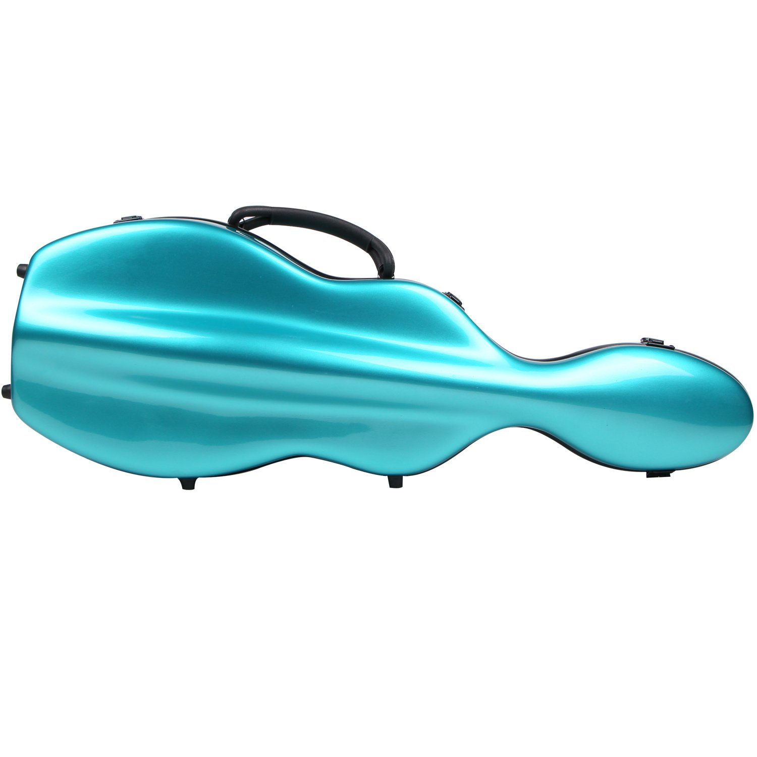 String House SG300PG Fiberglass Violin Case Cello Shaped Teal Green and black Full Size 4/4