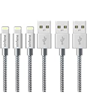 iPhone Charger Cable Lightning Cable Marktol (1M/0.3FT-3Pack,Grey) Fast Sync Charger USB Cable Nylon Braided Cord for iPhone 8/X 7/7 Plus/6/6s/6 Plus/6s Plus,5c/5s/5/SE,iPad Pro/Air/mini,iPod and more