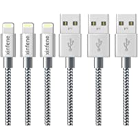 xinfene Charger Cable for iPhone (2M/6FT-3Pack,Grey) Fast Sync Charger USB Cable Nylon Braided Cord for iPhone 8/X 7/7 Plus/6/6s/6 Plus/6s Plus,5c/5s/5/SE,iPad Pro/Air/mini,iPod and more