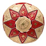 Casablanca Market Moroccan Marrakech Cotton Stuffed Leather Pouf, Red