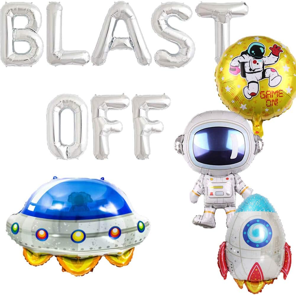 Blast Off Balloons, Outer Space Birthday Party Decorations, Galaxy Astronaut Space Man Robot UFO Back to the Moon Theme Boys Birthday Party Supplies
