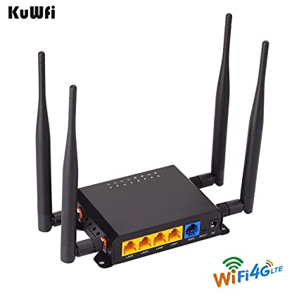 KuWFi 300Mbps 3G 4G Car WiFi Wireless Router Extender Strong Signal OpenWRT  Car WiFi Router with USB Port SIM Card Slot with External Antenna for