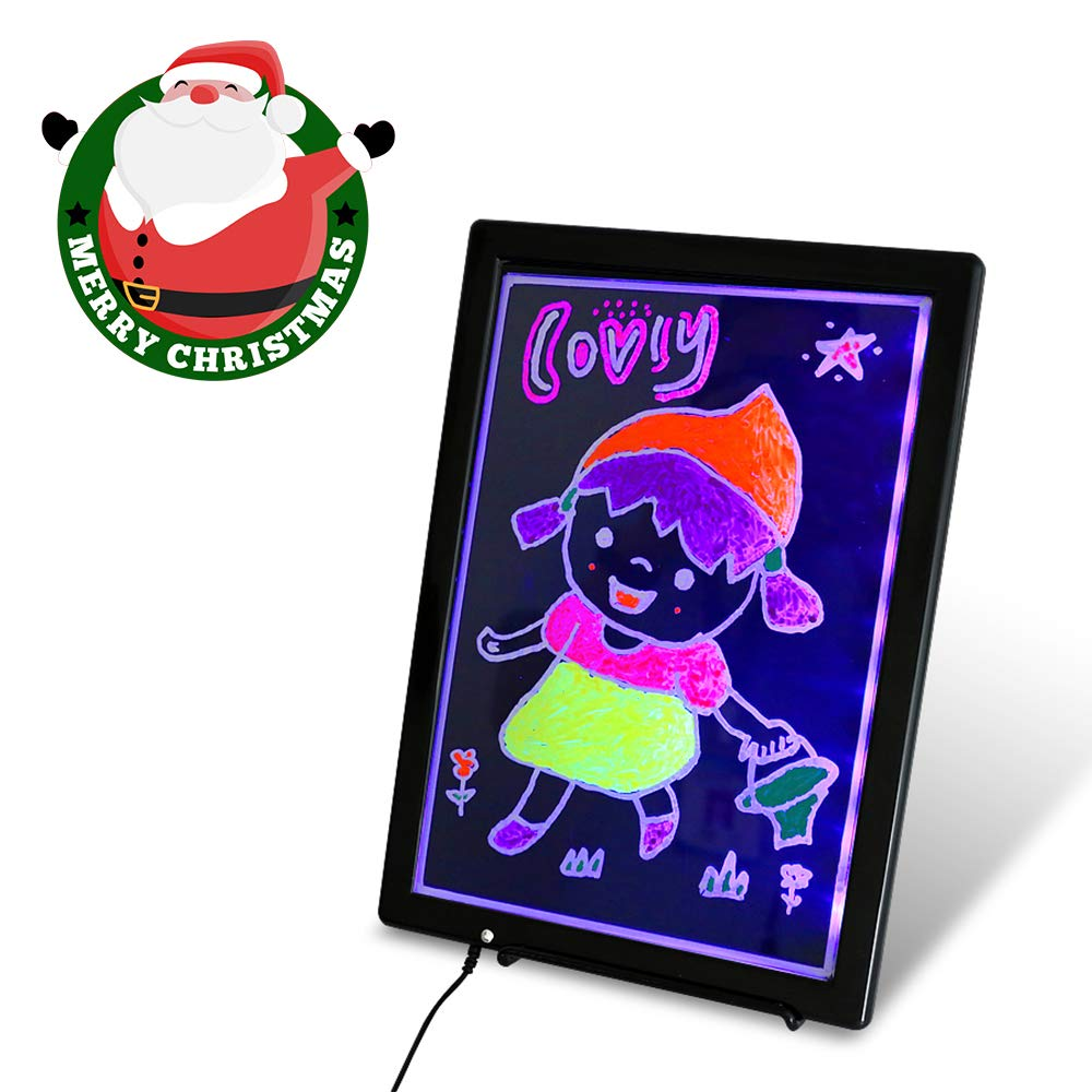 USB LED Writing Board, 12.8x9.5inch Electronic Neon Illuminated Kids Drawing Board, Writing Message Board Handwriting Pad with Erasable Chalk Marker, Business Sign, Office Memo & Home Note by CHILDY
