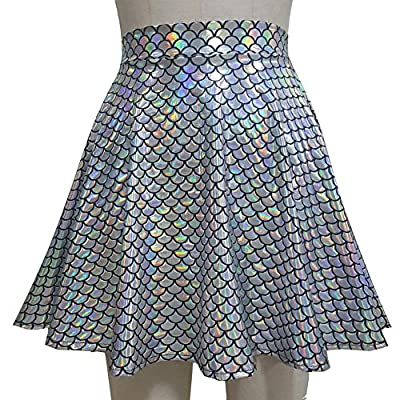 Pinda Summer Holographic Mermaid Scale High Waisted Flare Skater Skirt (XL, 369MD)