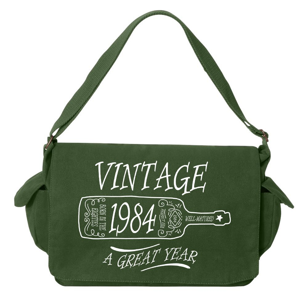Tenacitee Aged Like a Fine Wine 1984 Green Brushed Canvas Messenger Bag