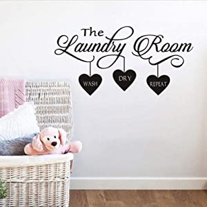 BUCKOO Laundry Room Quote Wall Sticker Home Decor Popular Vinyl Removable Art Decal Quotes Wall Decal Room Wall Art Stickers DIY Home Decor Wall Decorations,Black