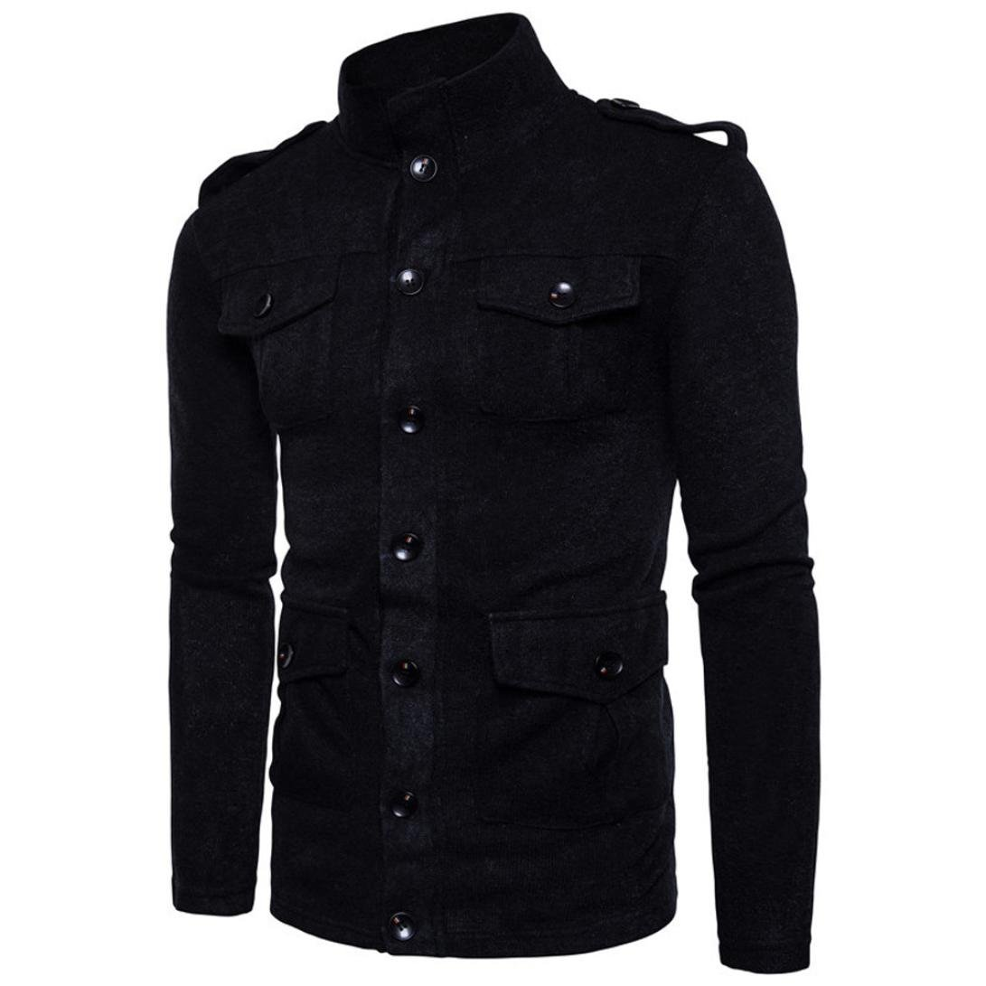 Forthery Men's Active Lightweight Slim Button Bomber Jacket Coat (Tag M= US S, Black) by Forthery (Image #1)