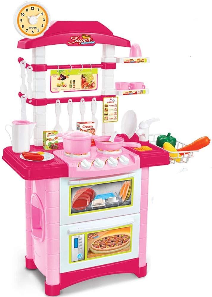 キッチンセットおもちゃ 子供たちはキッチンキッズクッキングロールプレイおもちゃセットイマジネーションゲームギフトをふり おもちゃのキッチンをドレスアップ (Color : Pink, Size : 59x87x29cm)