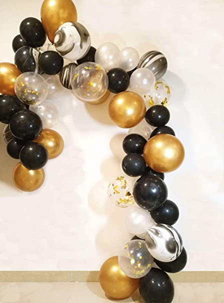 Amazon.com: JAYKIDS globos negros y dorados para fiestas, 90 ...
