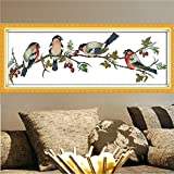 68x26cm Colorful Bullfinches Cross Stitch Kit DIY Embroidery Set Home Bedroom Decor