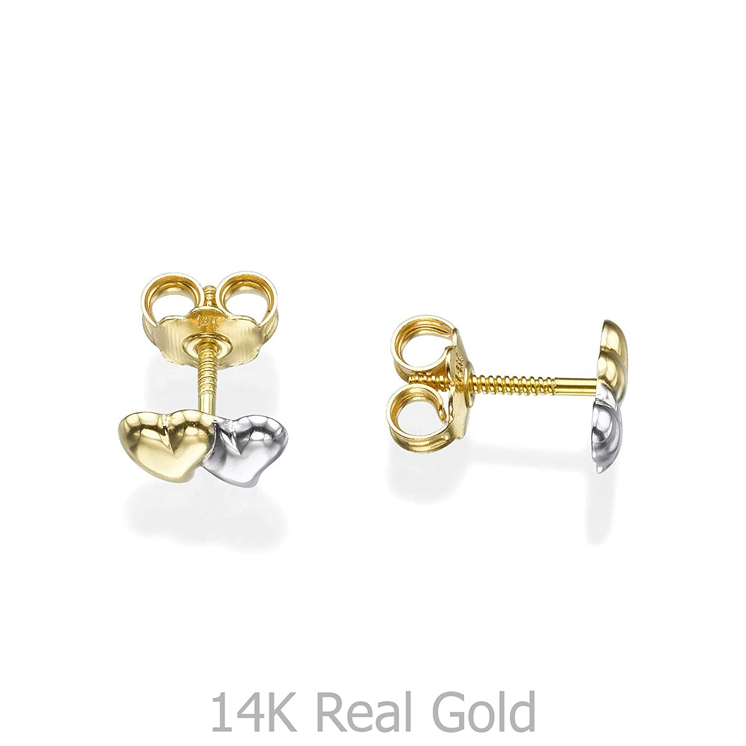 Solid Two Tone Gold 14K Double Star Baby Stud Earrings Screw-back