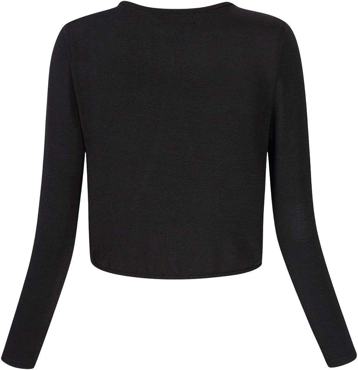 Yesfashion Women Long Sleeve Bolero Shrugs Knit Cropped Cardigan Sweater Shrug Bolero Jackets