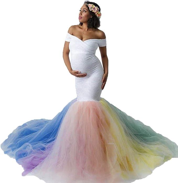 MYRISAM Womens Off Shoulder Ruffles Maternity Baby Shower Dress Mermaid Layerd Chiffon Wedding Party Slim Fitted Gown