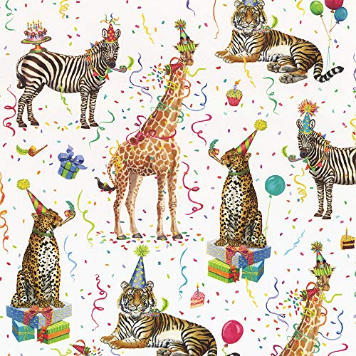 Caspari Party Animals 30 in. x 5 ft. Wrapping Paper Rolls, 3 Rolls Included ()