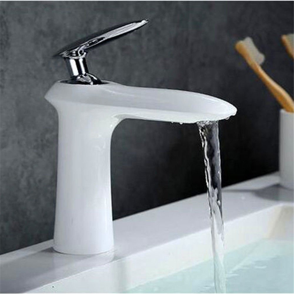 Modern simple copper hot and cold kitchen sink taps kitchen faucet White copper hot and cold basin faucet single hole single table above counter basin 16cm high white faucet