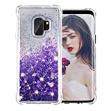 Galaxy S9 Case, SUPVIN Liquid Glitter Cover for Girls Clear Fashion Rhinestone Flowing Sparkle Glitter Floating [TPU+PC] 4 Corners Bumper Protective Phone Cover for Samsung Galaxy S9 (Heart-Purple)