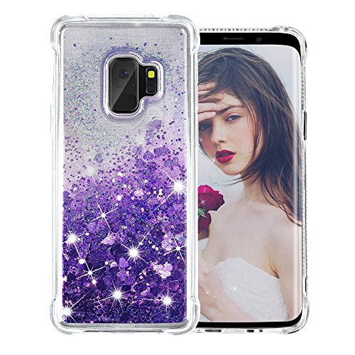Galaxy S9 Case, SUPVIN Liquid Glitter Cover for Girls Clear Fashion Rhinestone Flowing Sparkle Glitter Floating [TPU+PC] 4 Corners Bumper Protective Phone Cover for Samsung Galaxy S9 (Heart-Purple) by SUPVIN