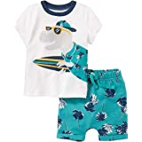 ECOLIVZIT Boy's Clothes Set Summer Cotton T-Shirt and Shorts 2 Pieces 2T-7T