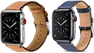 MARGE PLUS Compatible with Apple Watch Genuine Leather Band 42mm 44mm Brown & MARGE PLUS Compatible with Apple Watch Genuine Leather Band 42mm 44mm Indigo