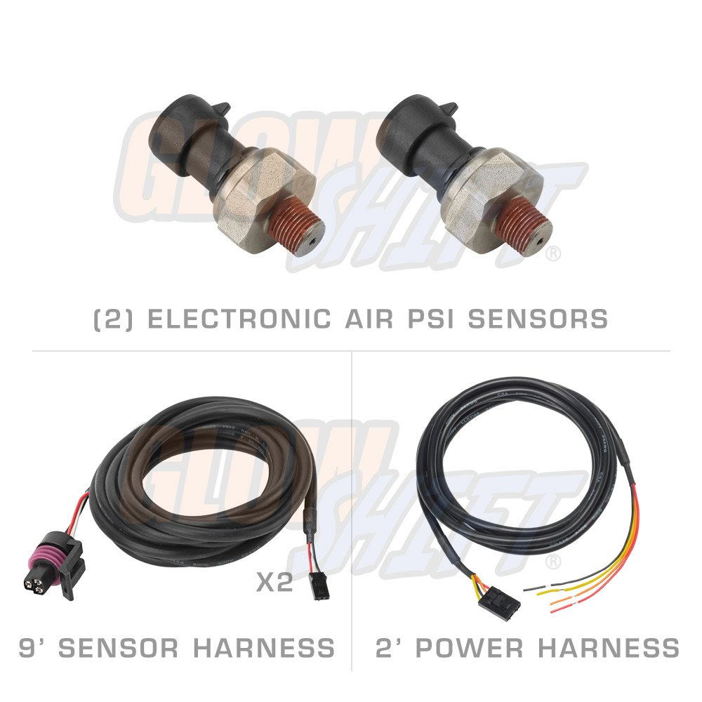 Glowshift 10 Color Digital 200 Psi Dual Air Pressure Wiring Harness Gauge Automotive