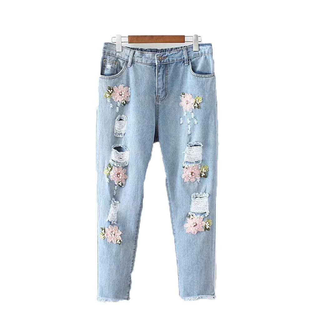 ARRILR.H Pantalones de Jeans Rotos para Mujer Pantalones de ...