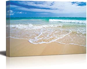 "wall26 - Canvas Prints Wall Art - Romantic Scene of Sea Waves on The Tropical Hawaii Beach | Modern Wall Decor/Home Decoration Stretched Gallery Canvas Wrap Giclee Print. Ready to Hang - 16"" x 24"""