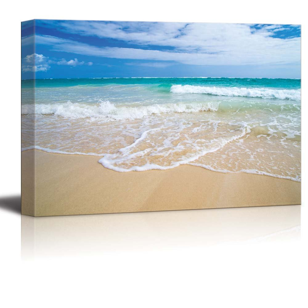 """wall26 - Canvas Prints Wall Art - Romantic Scene of Sea Waves on The Tropical Hawaii Beach 