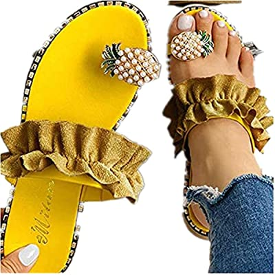 Sandals for Women Flat, Sweet Cute Pearls Pineapple Sandals Clip Toe Flip Flops Boho Casual Flat Slippers Beach Shoes at Women's Clothing store
